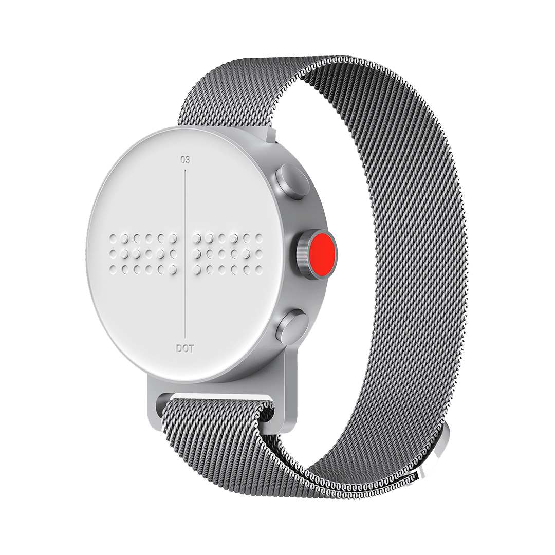 Dot Watch, a braille watch in silver with braille clock face and mesh strap